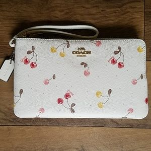 Coach Double Zip Wallet Painted Cherry Print